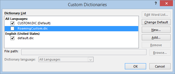 "Office: ""Add to dictionary"" option greyed out 